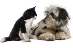 Cat and dog are talking. Watercolor painting stock photos