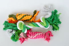 Cat and dog toy colorful fabric rope on white background Stock Photography