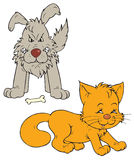 Cat and dog (vector clip-art) Royalty Free Stock Image