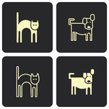 Cat and dog - vector icons, symbols Royalty Free Stock Photos