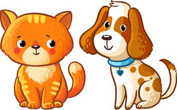 Cat and Dog. Vector illustration in cartoon style Stock Photo