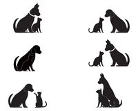 Cat and Dog vector silhouettes logo vector illustration
