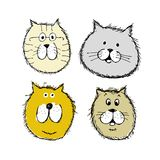 Cat and dogs faces, sketch for your design Royalty Free Stock Photography