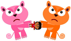 Cat doll fight. An illustration of two cats fighting over a doll Royalty Free Stock Images