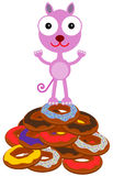 Cat on a donut Royalty Free Stock Photo