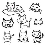 Cat doodle drawing a vector on white background Royalty Free Stock Images