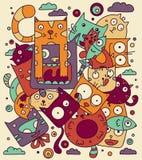 Cat doodle vector illustration. Cute cartoon animals stock illustration