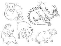 Cat, dragon, rat, pig, sheep Royalty Free Stock Photo