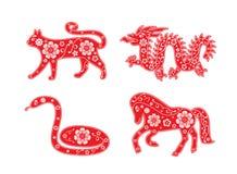Cat, dragon and snake, horse. Chinese Horoscope animal set. Flower decorative element stock illustration