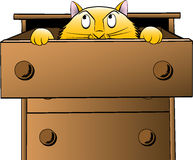 Cat in a Drawer. Cat peaking inquisitively out of a dresser drawer. Vector file layered for easy recoloring vector illustration