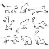 Cat drawing set. Set of drawing cat icon Stock Photography