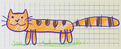 Cat drawn in childish manner Stock Images
