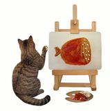 Cat draws a picture on the easel. The cat painter is drawing a piece of sausage on the easel. White background royalty free stock photos