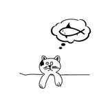 Cat dream fish cartoon vector illustration. On a white Royalty Free Stock Photo