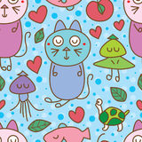 Cat dream natural seamless pattern. This illustration is design and drawing cat dream with natural in blue color dot background seamless pattern Stock Image