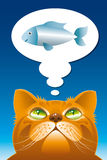 Cat the dreamer. Cartooned cat dreaming about fish royalty free illustration
