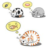 Cat dreaming. Cats sleeping and dreaming for their food vector illustration