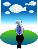 Cat dreams. A vector illustration for a cat's dreams: clouds becomes a fish Stock Images