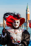 Cat dressed participant on Venetian Carnival. Stock Photo