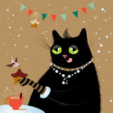 Cat drinking coffee with bird vector illustration Stock Photography