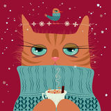 Cat drinking coffee with bird vector illustration Royalty Free Stock Image