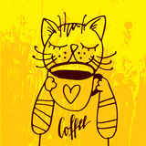 The cat is drinking a cup of coffee in the cozy yellow background. Royalty Free Stock Photography