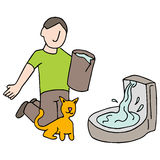 Cat Drinking Fountain Stockfoto