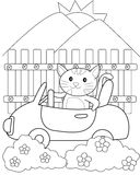 Cat driving a car coloring page Stock Photography