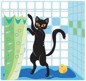Cat and Duck. Taking a bath royalty free illustration