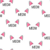 Cat ears. Vector illustration. Seamless pattern. Meow words. Cat face elements Royalty Free Stock Photo