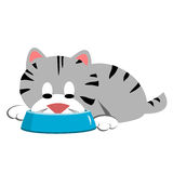 Cat Eating From Bowl Clipart. Gray tabby cat eating or drinking from a dish bowl Royalty Free Illustration