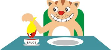 Cat eating fish with sauce Stock Images
