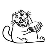 The cat is eating a hamburger. Isolated vector illustration. royalty free illustration