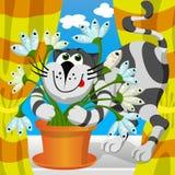 Cat embraces fish flower. Vector illustration - cat embraces fish flower Stock Image