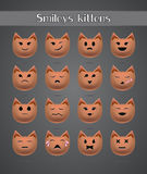 Cat emoticons for forums zoo. On a gray background Royalty Free Stock Photography