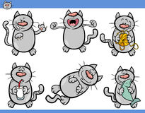 Cat emotions cartoon illustration set. Cartoon Illustration of Funny Cats Set vector illustration