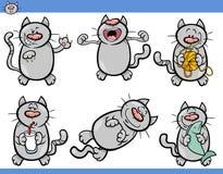 Cat emotions cartoon illustration set Stock Images