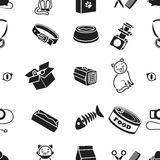 Cat equipment pattern icons in black style. Big collection of cat equipment vector symbol stock illustration Royalty Free Stock Photos