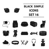 Cat equipment set icons in black style. Big collection of cat equipment vector symbol stock illustration Stock Photography