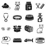 Cat equipment set icons in black style. Big collection cat equipment vector symbol stock illustration Royalty Free Stock Image