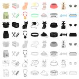 Cat equipment set icons in cartoon style. Big collection of cat equipment vector symbol stock illustration Royalty Free Stock Image