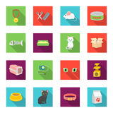 Cat equipment set icons in flat style. Big collection of cat equipment vector symbol stock illustration Royalty Free Stock Photos