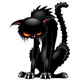 Cat Evil Angry Funny Character noire Illustration Stock
