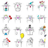 Cat expression sixteen feelings doodles Royalty Free Stock Image