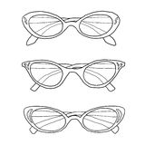 Cat eye vintage glasses hand drawn line art illustration Stock Images