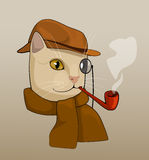 Cat with eyeglass, brown hat, pipe and scarf, cartoon drawing Stock Image