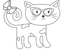 Cat with eyeglasses and a ribbon coloring page Stock Photography