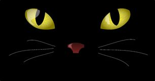 Cat Eyes. Illustration of yellow eyes in the dark Stock Photos