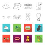 Cat eyes, a collar, a house for a cat, a medal on a ribbon.Cat set collection icons in outline,flat style vector symbol. Stock illustration Royalty Free Stock Image