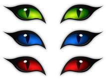 Cat eyes. Set of three different color car eyes - vector illustration stock illustration